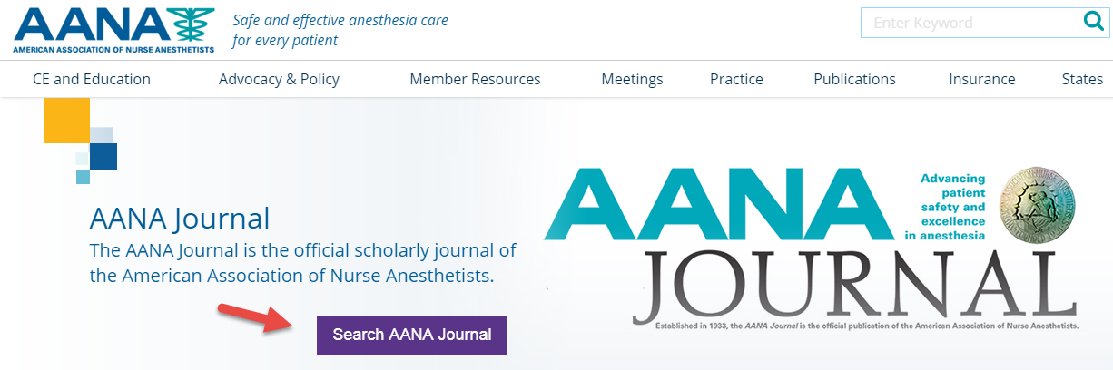 AANA Journal Search